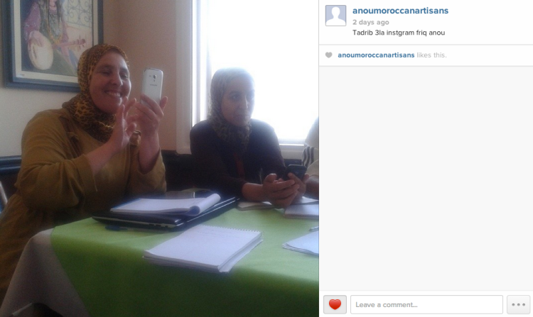 Rabha of Cooperative Chorouk and Kenza of Association Tithrite test out their new Instagram account.